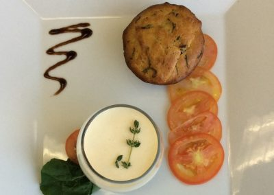 White tomotao mousse, basil brioche, tomato carpaccio