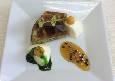 White chocolate mousse, passion fruit marmelade, pistachio waffle