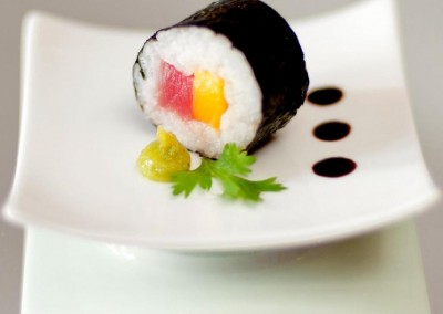 A delicious sushi roll from MI CORAZON Catering