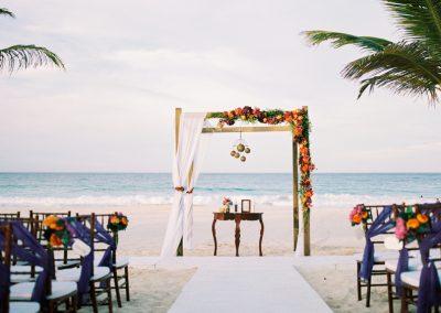 Colorful beach wedding gazebo