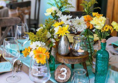 Colorful Caribbean wedding decoration elements