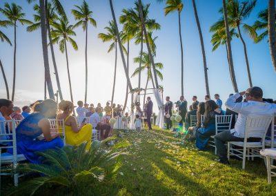 Destination wedding ceremony in a tropical garden